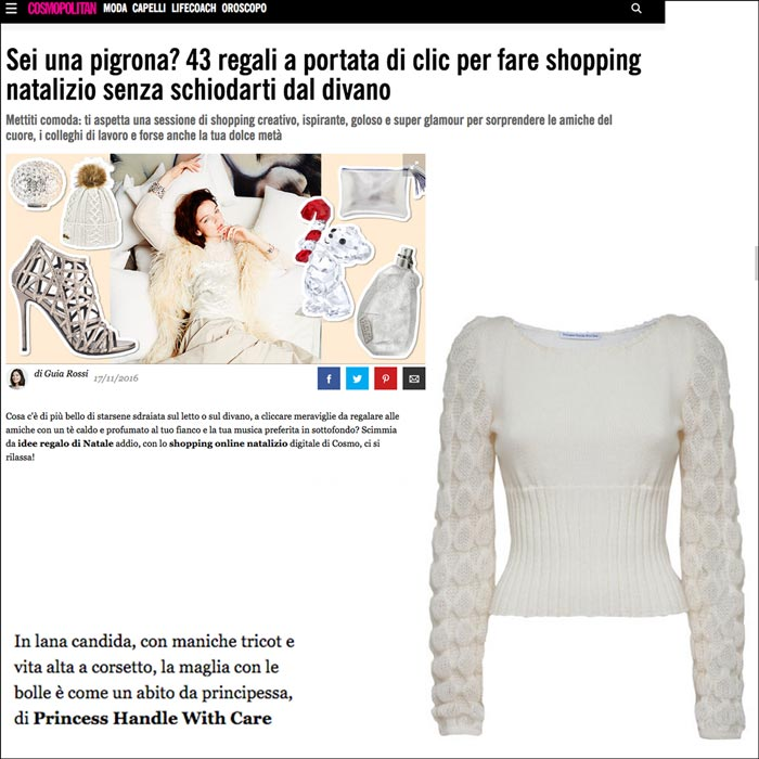 idee regalo on line cosmopolitan maglieria made in italy princess handle with care