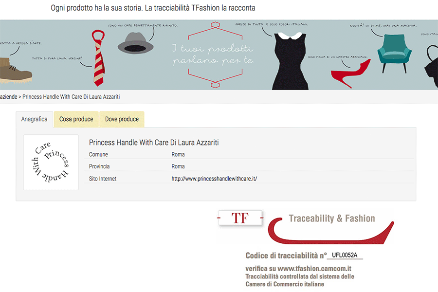 princess Handle with Care tracciabilità Made in Italy