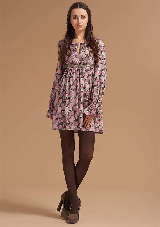cod 240 Printed Flowers brown dress on viscose stretch