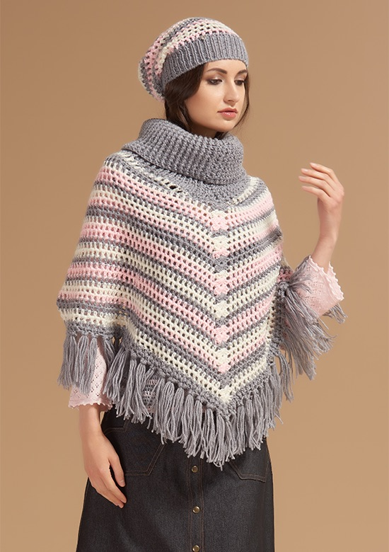 cod 241 Handmade stripes & little flowers Poncho grey
