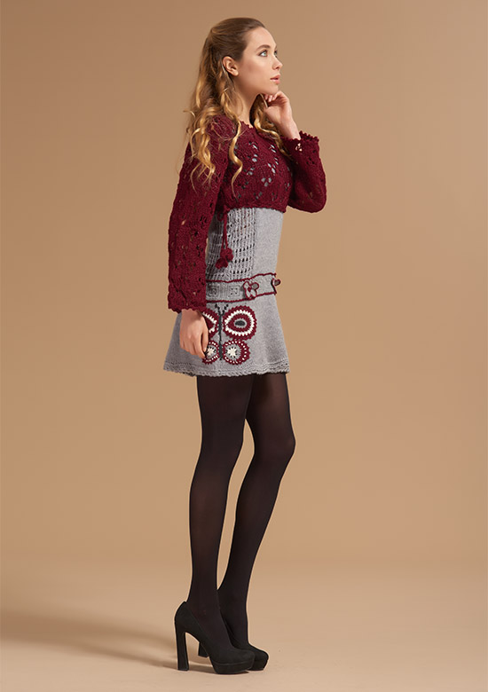 cod 242 handmade lace knit cropped shrug Burgundy with pompon