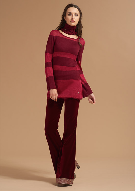 cod 248 Striped boat neck Knitwear Burgundy-collo-alto-artigianale-filato-setificato-made-in-italy-per-donna-shop-on-line-princess-handle-with-care-2