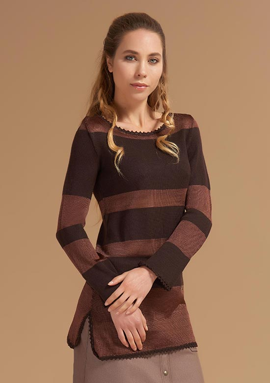 cod 248 Striped boat neck Knitwear brown
