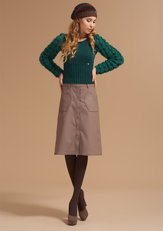 cod 251 Long sleeve green Bubbles wool Knit