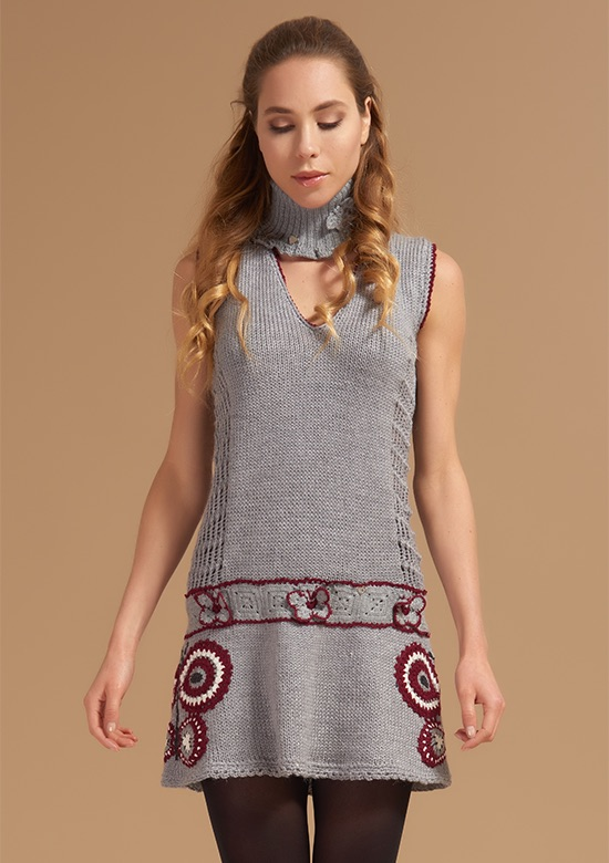 cod 260 Butterflies dress maxy vest grey on wool