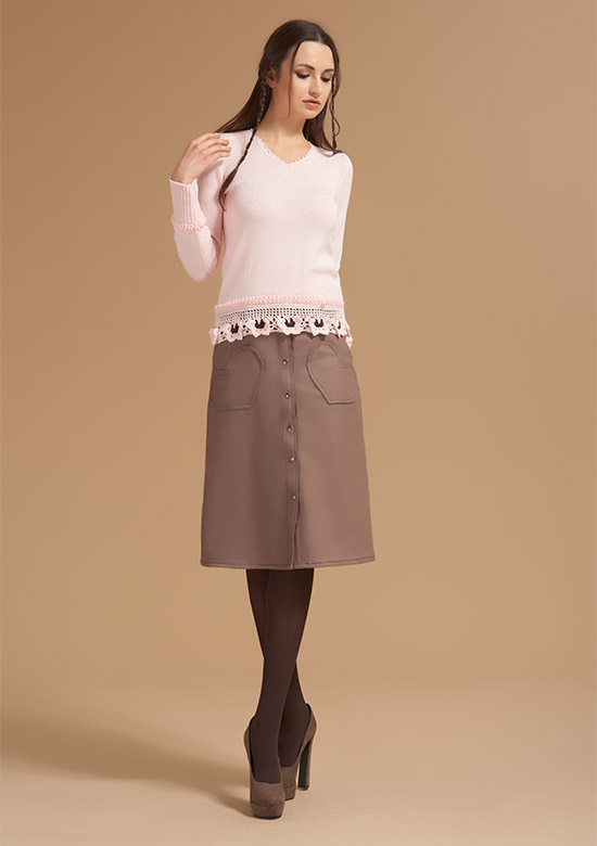 cod 263 V neck Knit on wool with butterflies belt light pink