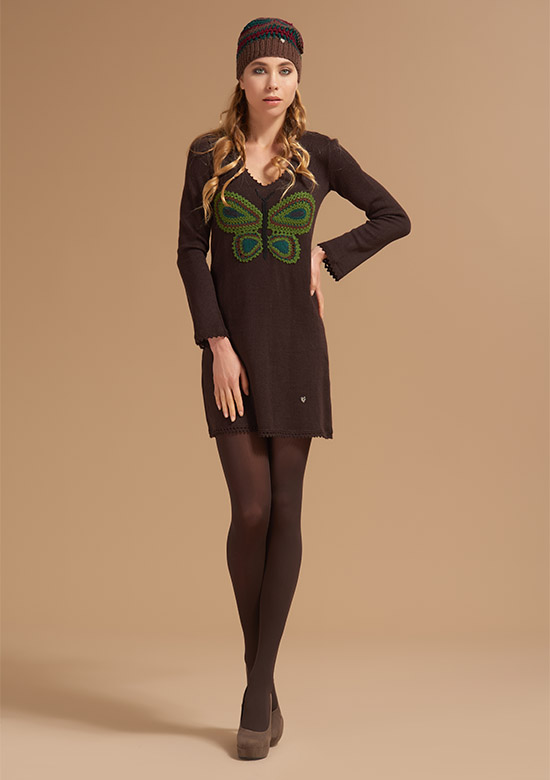 cod 265 handmade Butterfly dress brown on wool
