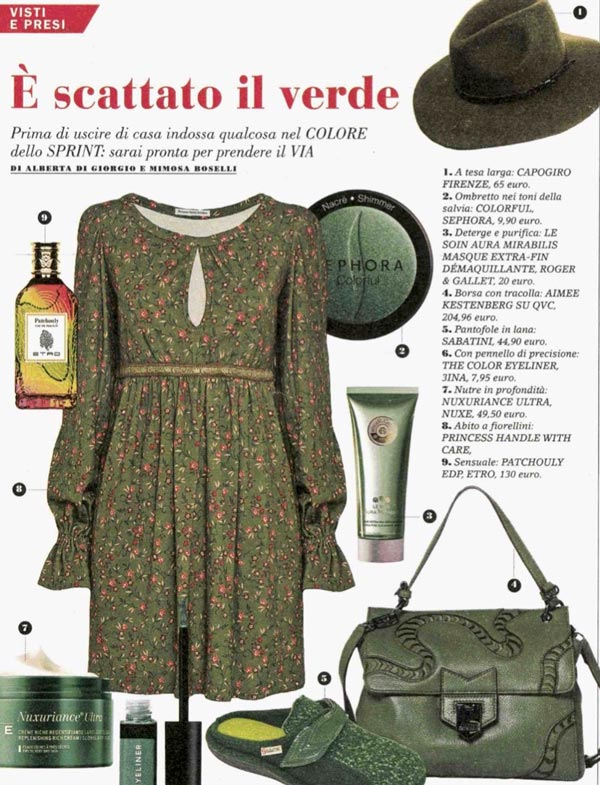 abito invernale donna jersey a fiori verde country chic princess handle with care confidenze tra amiche