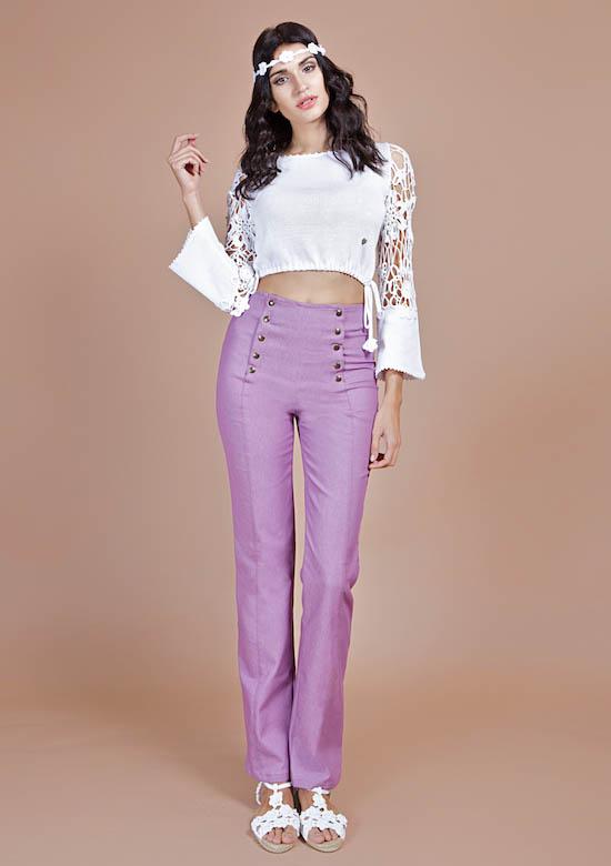 pantalone jeans donna lilla
