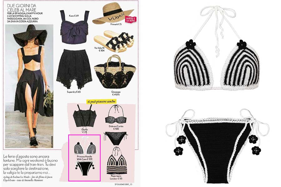 bikini bianco e nero princess handle with care