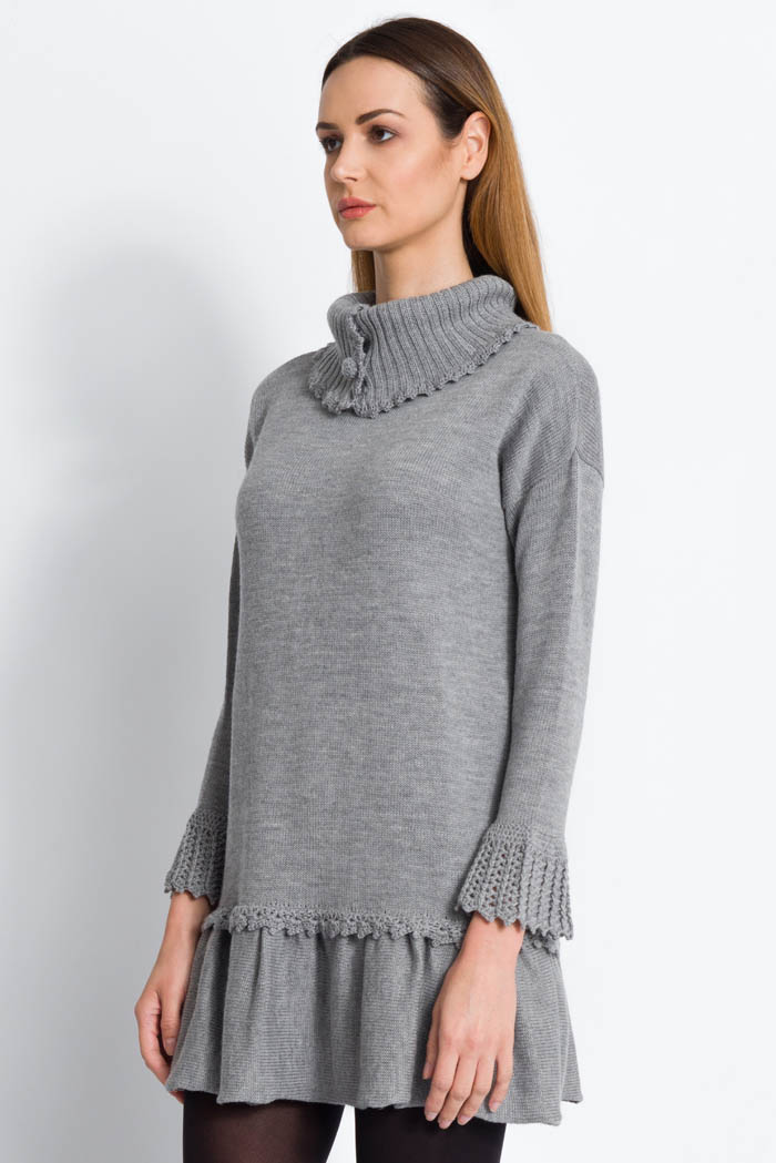 grey wool turtleneck dress with ruffles made in italy