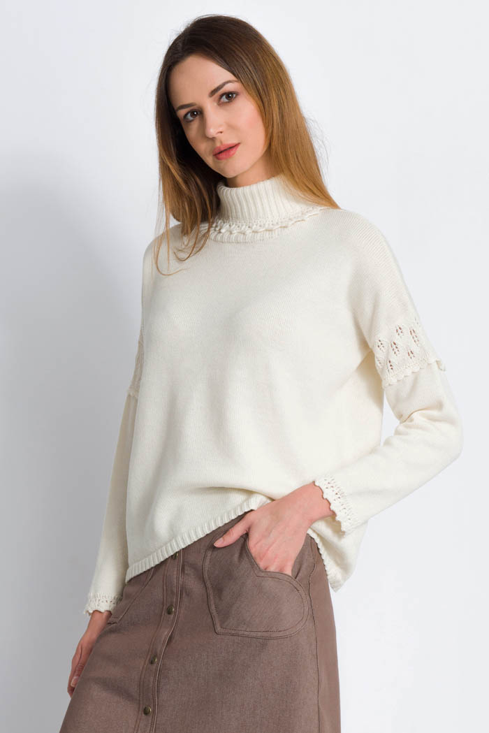 cream handcrafted merino turtleneck pullover for women