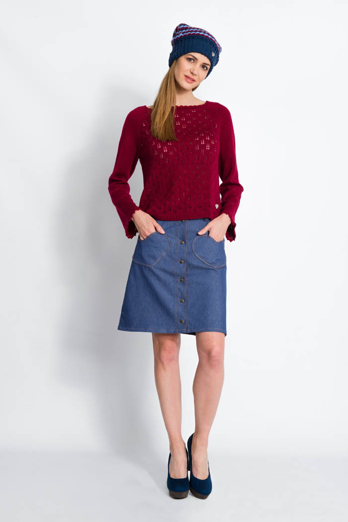 burgundy handcrafted lace wool sweater raglan sleeves and denim skirt made in italy