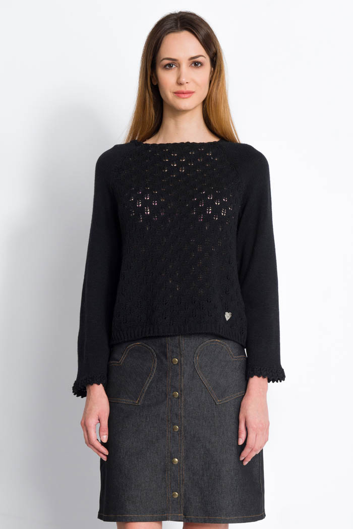black handcrafted lace wool sweater raglan sleeves and denim skirt