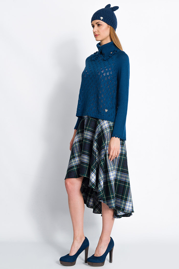 blue handcrafted lace wool sweater raglan sleeves and plaid long skirt made in italy