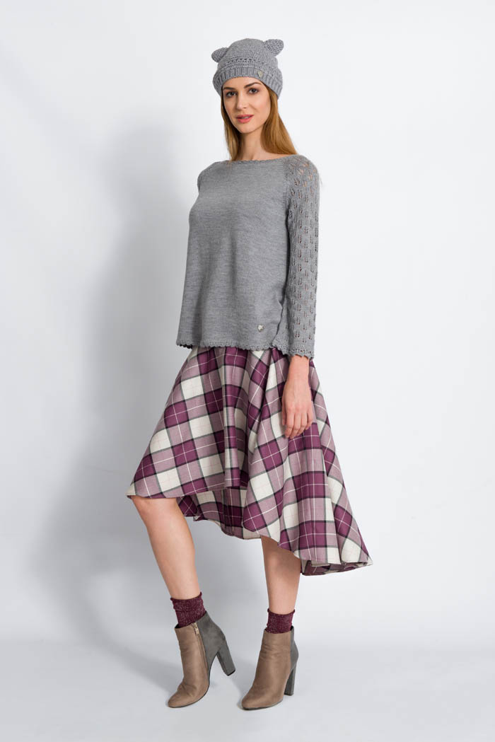 grey handcrafted wool sweater with lace raglan sleeves and plaid long skirt made in italy