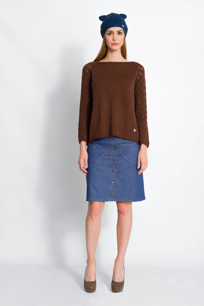 maglia invernale da donna raglan in lana merino manica pizzo foglie made in italy