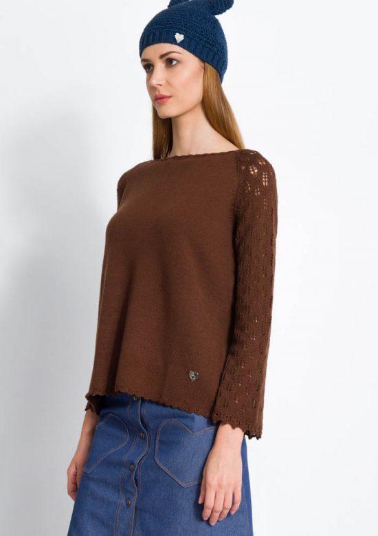 maglia invernale da donna raglan in lana merino manica pizzo foglie