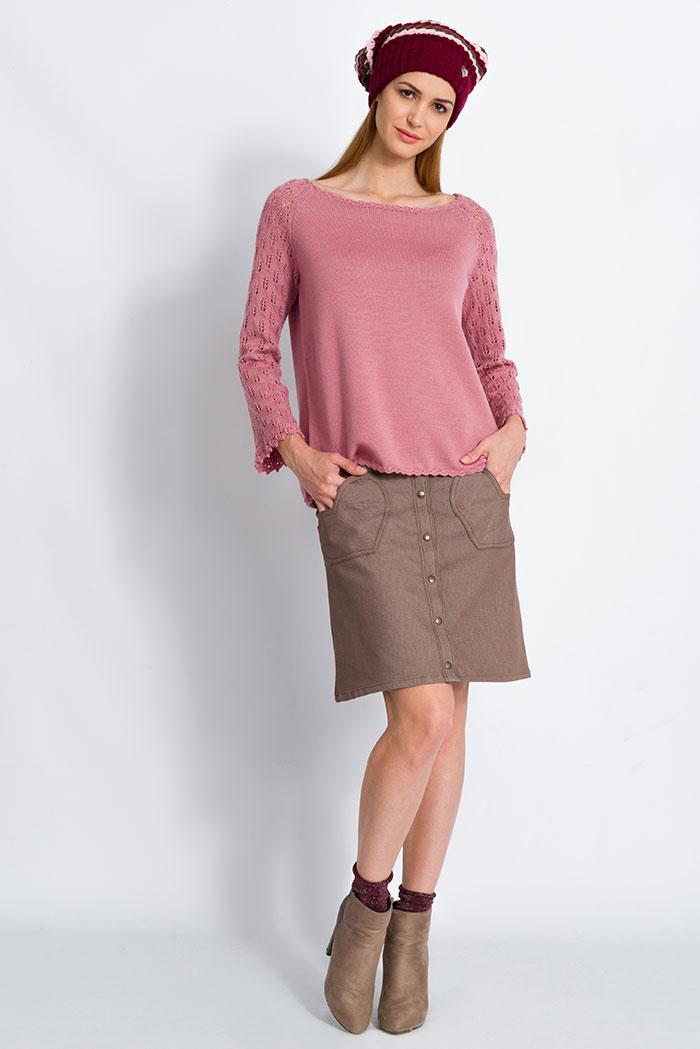 maglioncino in lana da donna pura lana rosa con maniche pizzo foglie made in italy e gonna in denim marrone con cuori