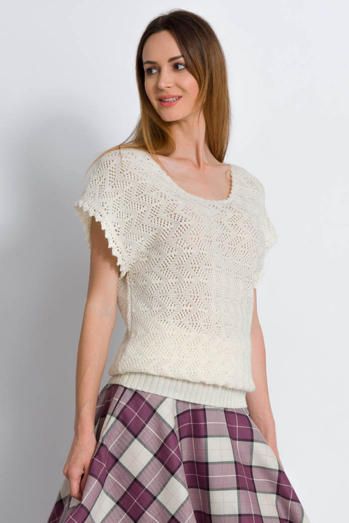 cream handcrafted half sleeves lace wool sweater made in italy