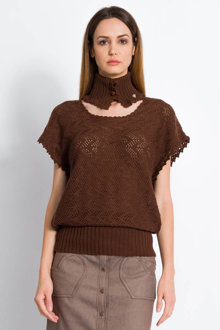 brown handcrafted half sleeves lace wool sweater made in italy