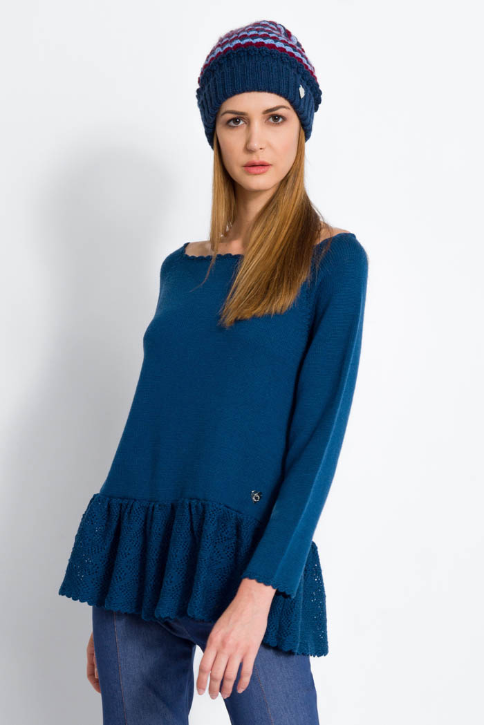 blue handcrafted ruffle merino wool sweater and slouchy hat made in italy