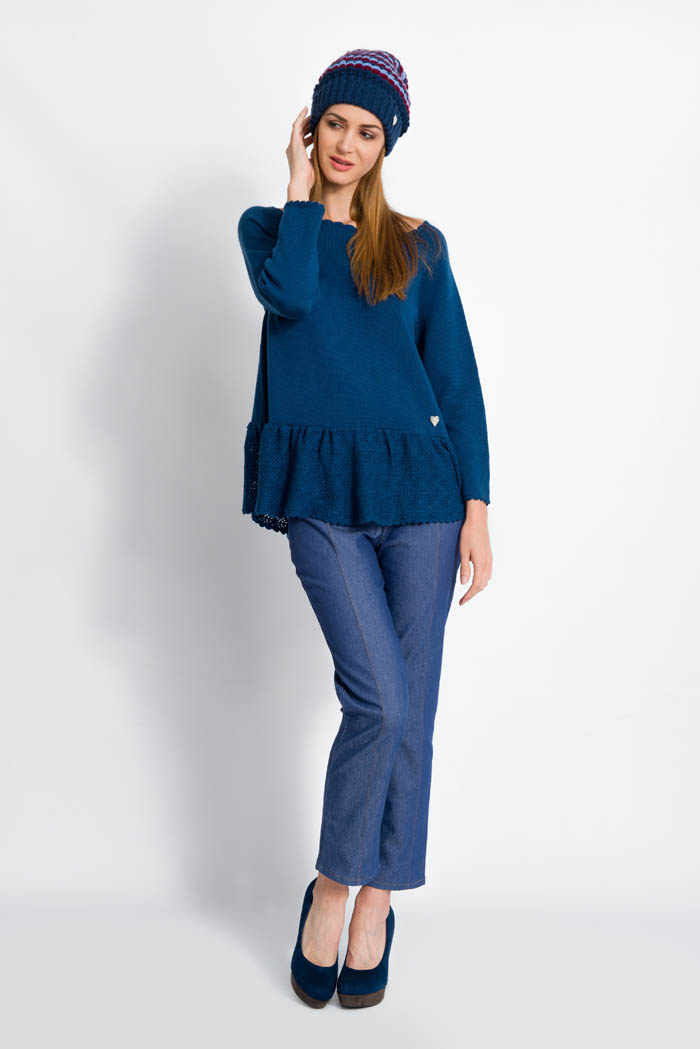 blue handcrafted ruffle merino wool sweater and skinny pants made in italy