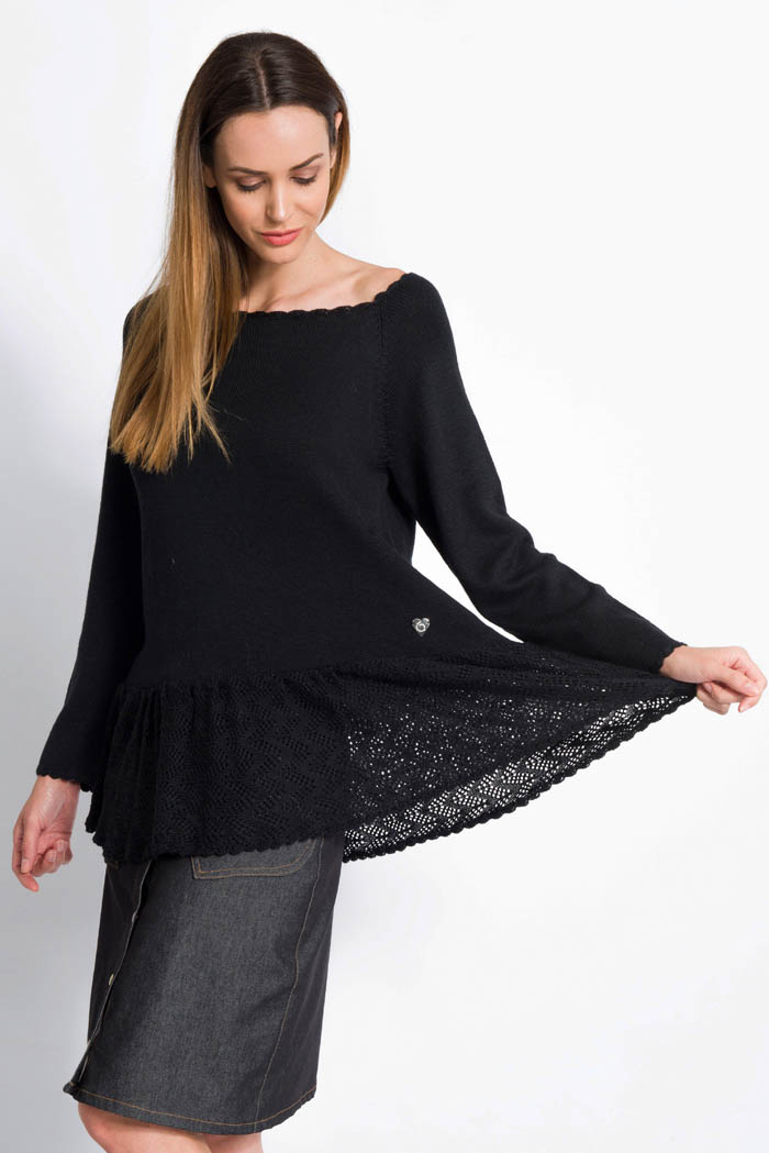 black handcrafted ruffle merino wool sweater with denim skirt
