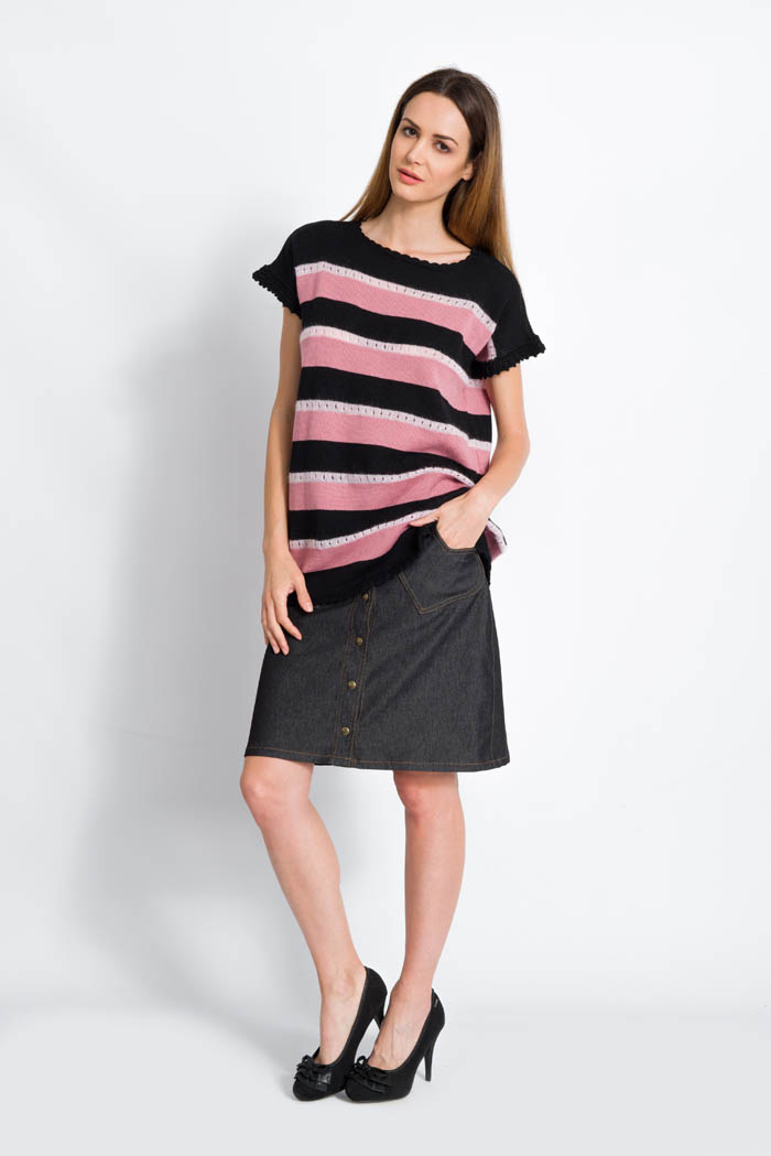 striped knit sweater half sleeves in mohair and merino pink and black made in italy