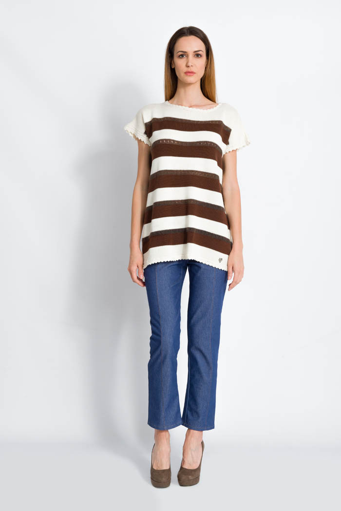 striped knit sweater half sleeves in mohair and merino cream and brown