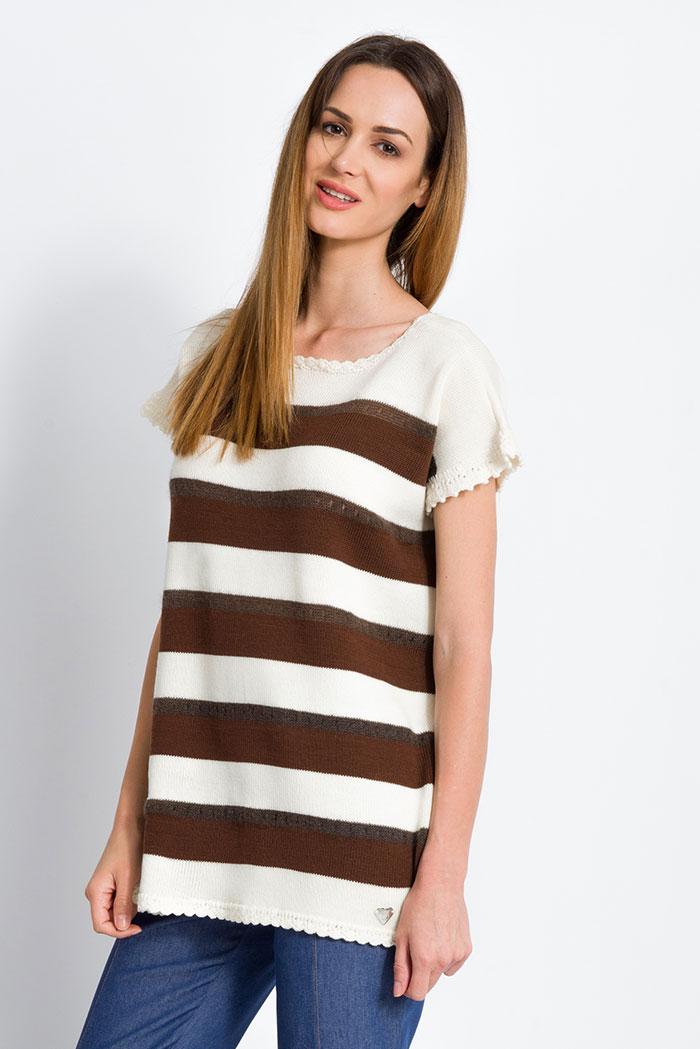 maglia da donna mezze maniche invernale maglia da donna mezze maniche invernale in merino e mohair a righe marroni e panna made in italy