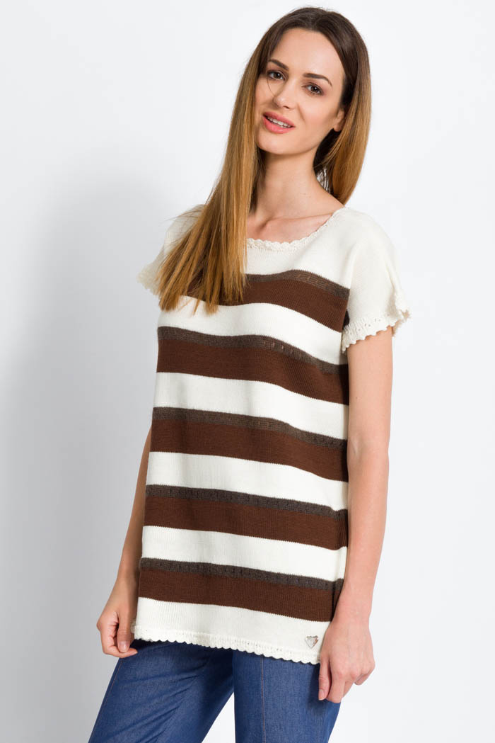striped knit sweater half sleeves in mohair and merino cream and brown made in italy