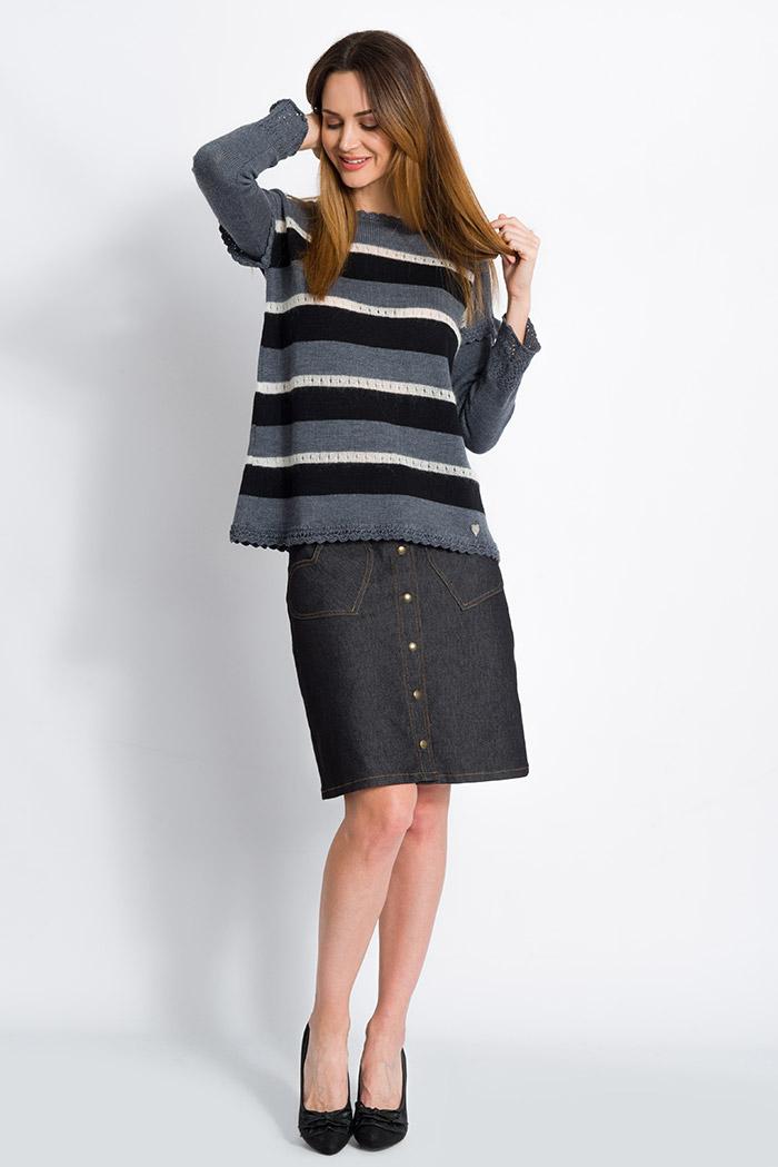 maglia a righe merino con mohair da donna grigia e nera