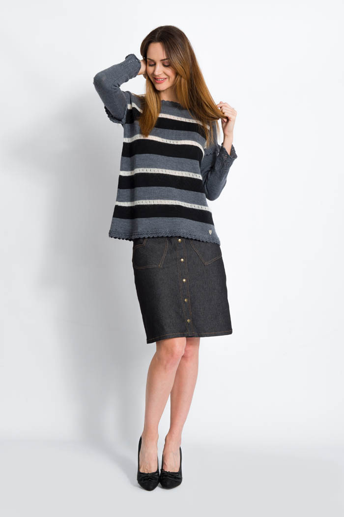 striped black grey handcrafted merino wool sweater with denim skirt made in italy