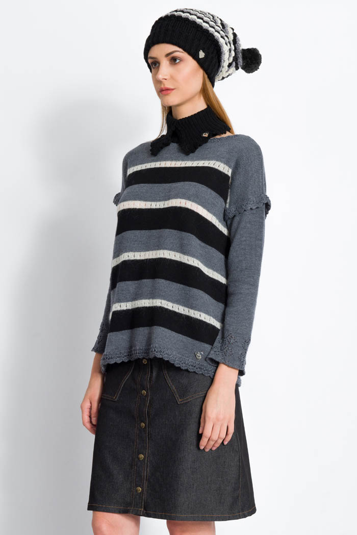 striped black grey handcrafted merino wool sweater with denim skirt and slouchy hat made in italy