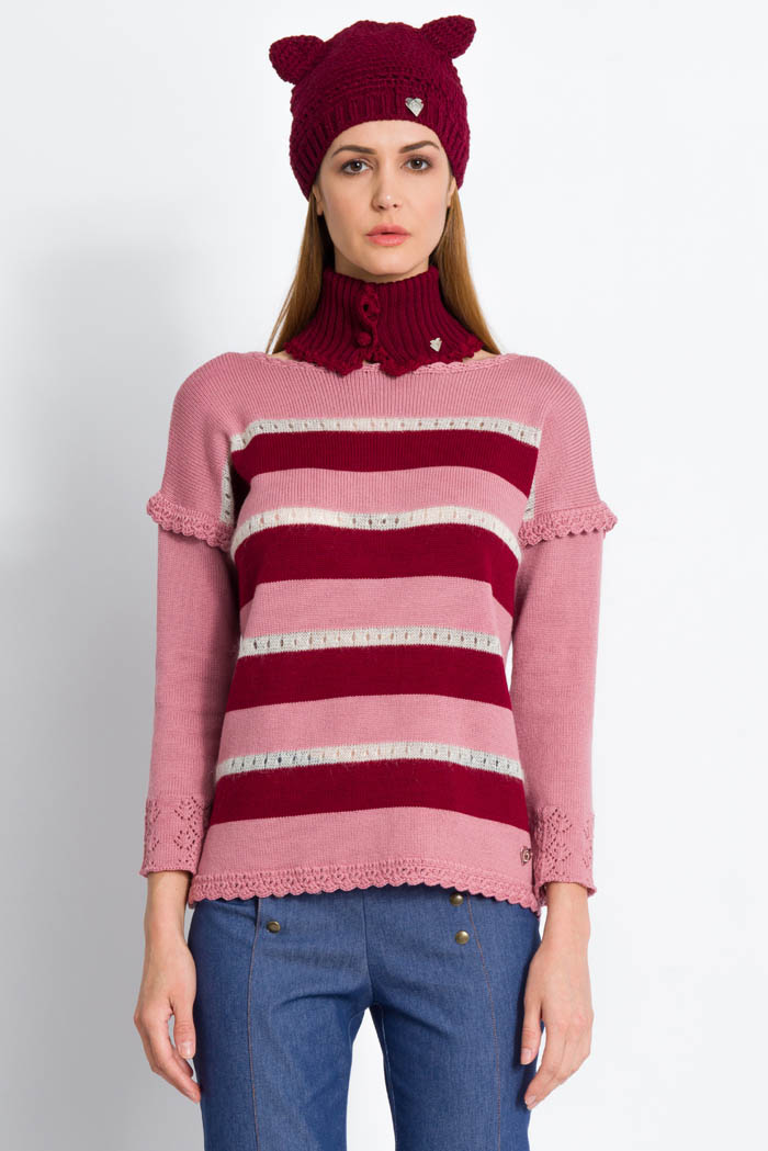 striped pink and burgundy handcrafted merino wool sweater with cathat and neck warmer made in italy