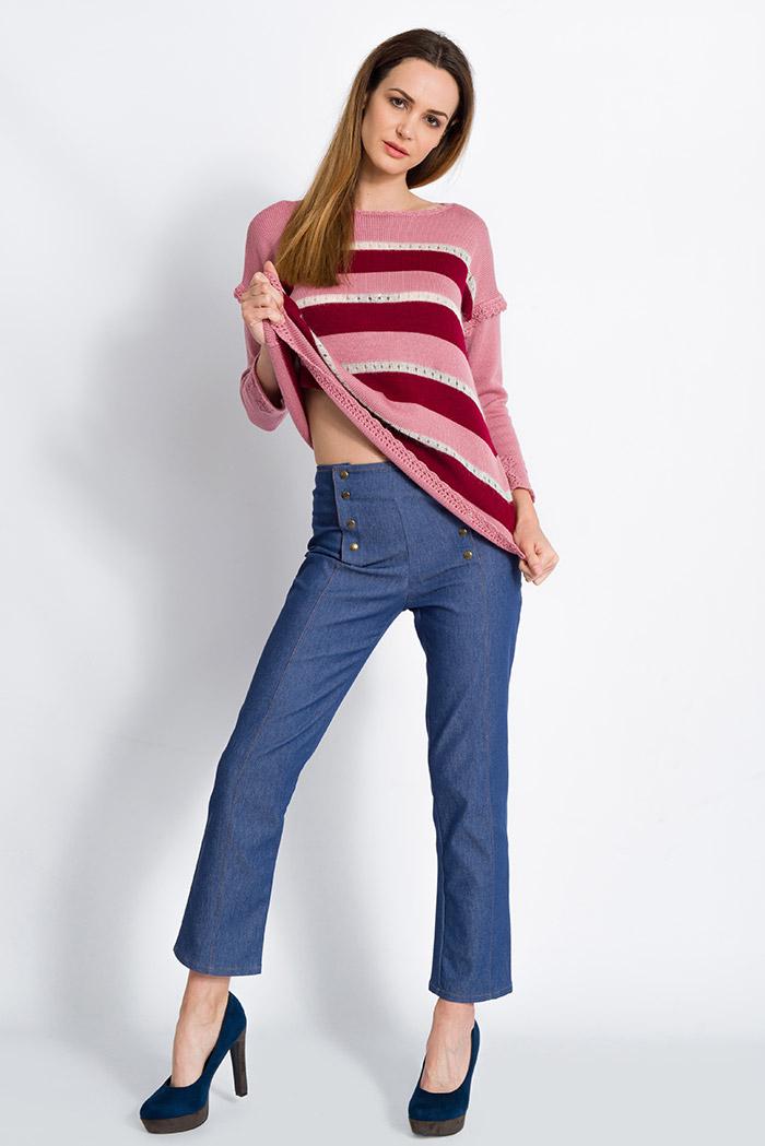 maglia a righe rosa e bordeaux merino con mohair e skinny jeans blu vita alta