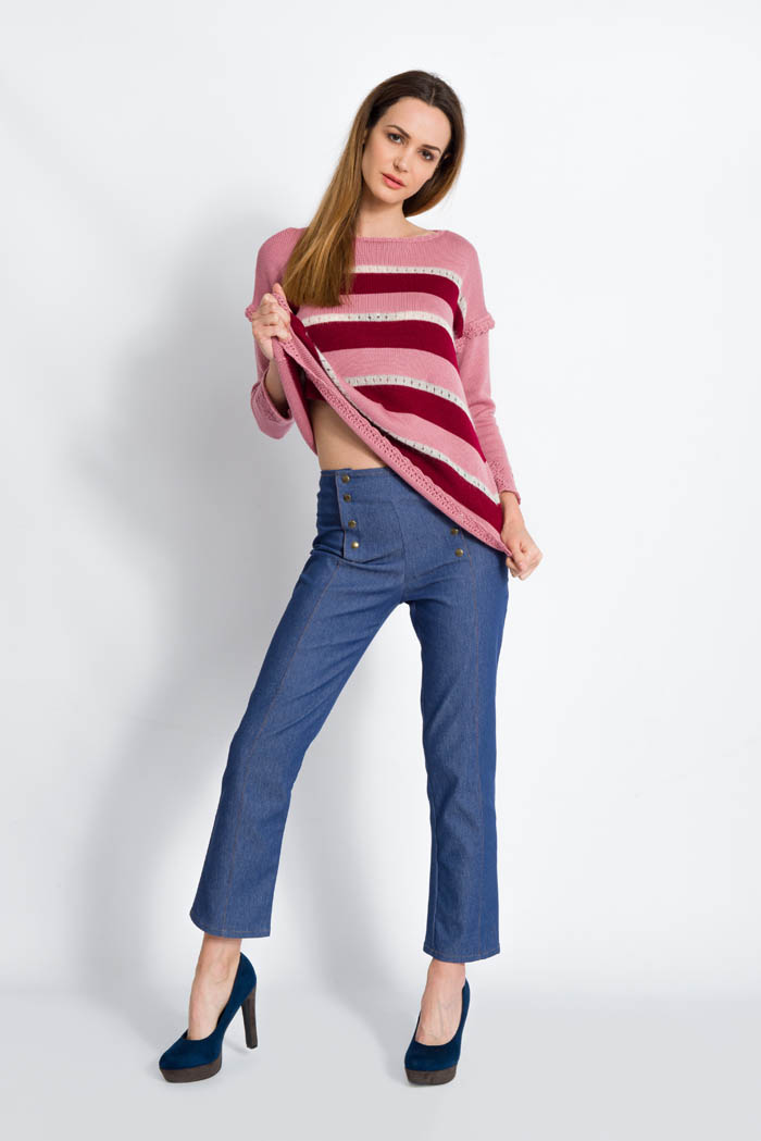 striped pink and burgundy handcrafted merino wool sweater with skinny jeans made in italy
