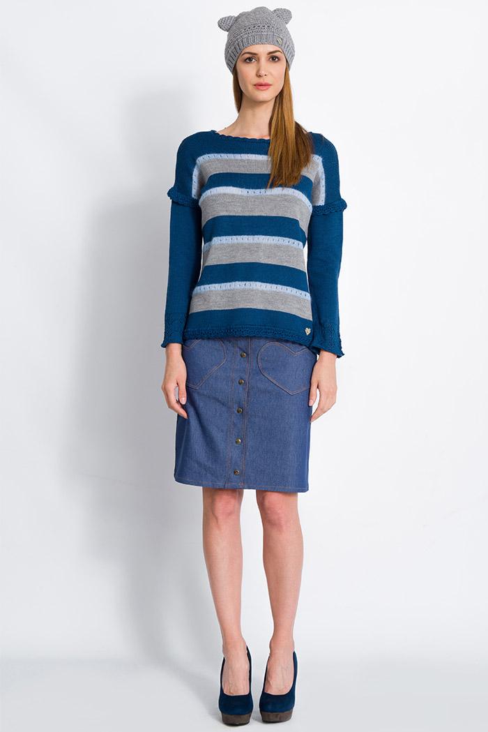 maglione a righe in merino e mohair color blu e grigio e gonna in denim blu con cuori - made in italy