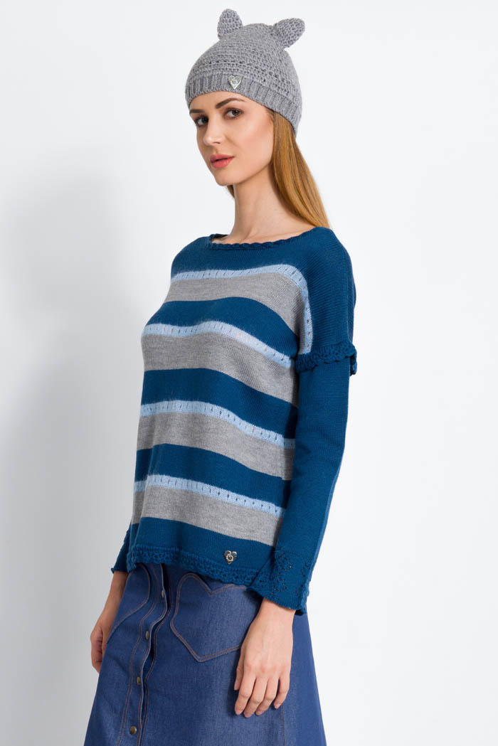 striped blue and grey handcrafted merino wool sweater with cathat and denim pocket hearts denim skirt made in italy