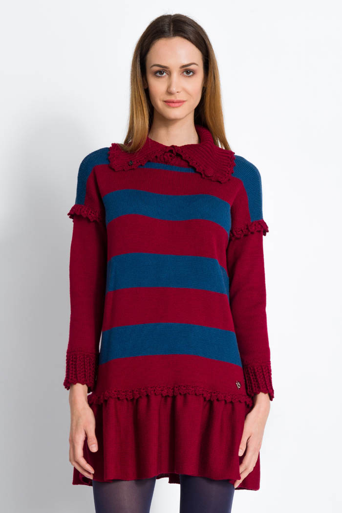 striped blue and burgundy wool turtleneck dress with ruffles made in italy
