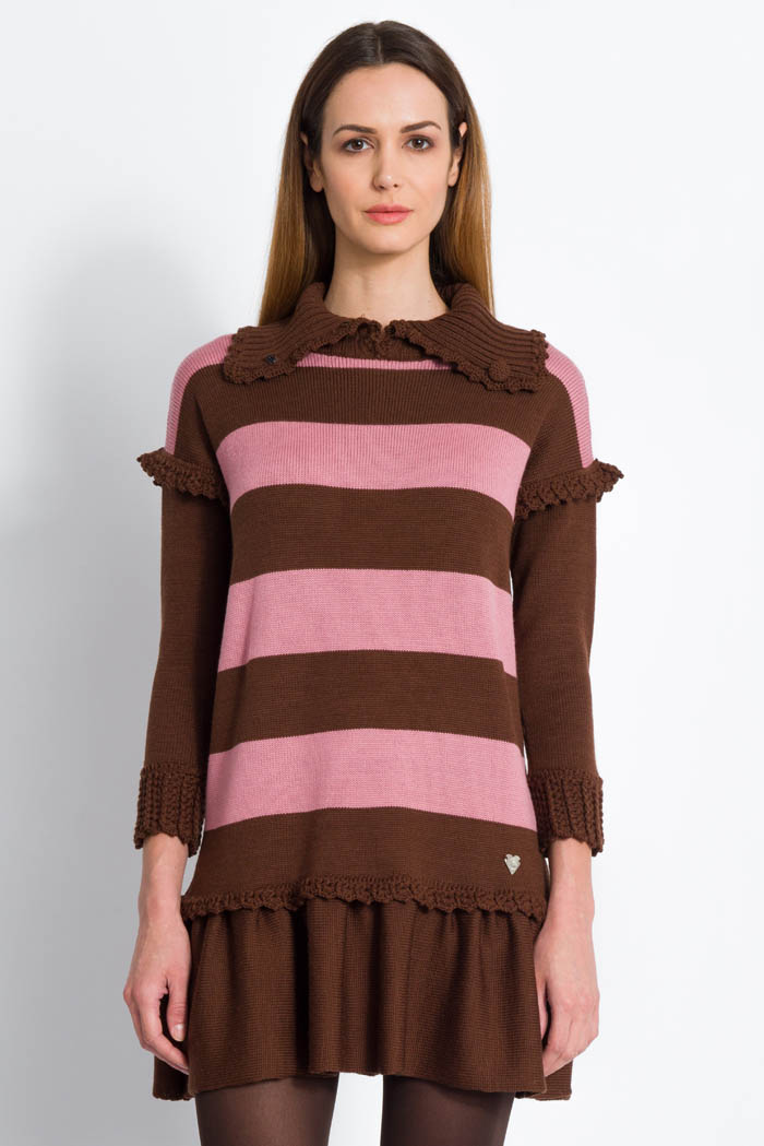 striped brown and pink wool turtleneck dress with ruffles open neck made in italy