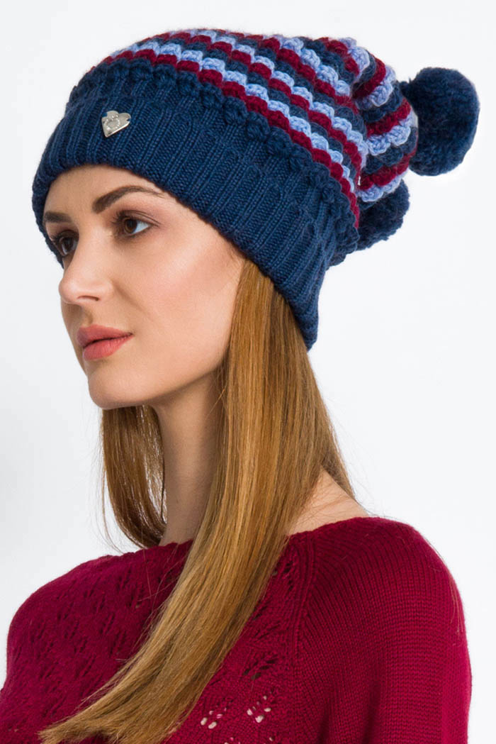 cappello donna in pura lana onde effetto 3d e pon pon toni bordeaux blu e celeste made in italy