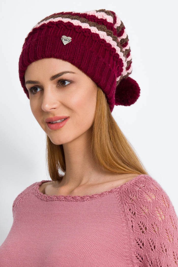 cappello donna in pura lana onde effetto 3d e pon pon toni bordeaux rosa marrone made in italy
