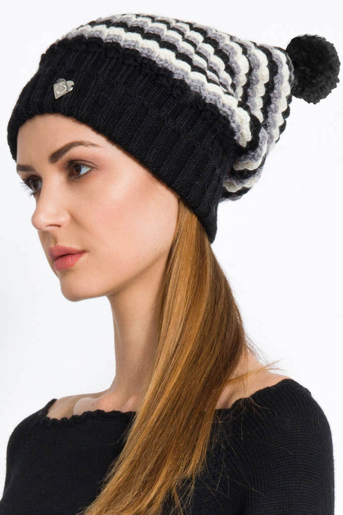 handmade black grey cream slouchy hat with pom pom