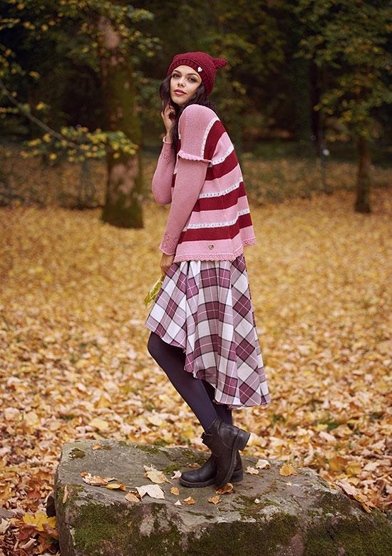 maglia in lana merino e mohair a righe e gonna lunga scozzese pura lana made in italy boho chic
