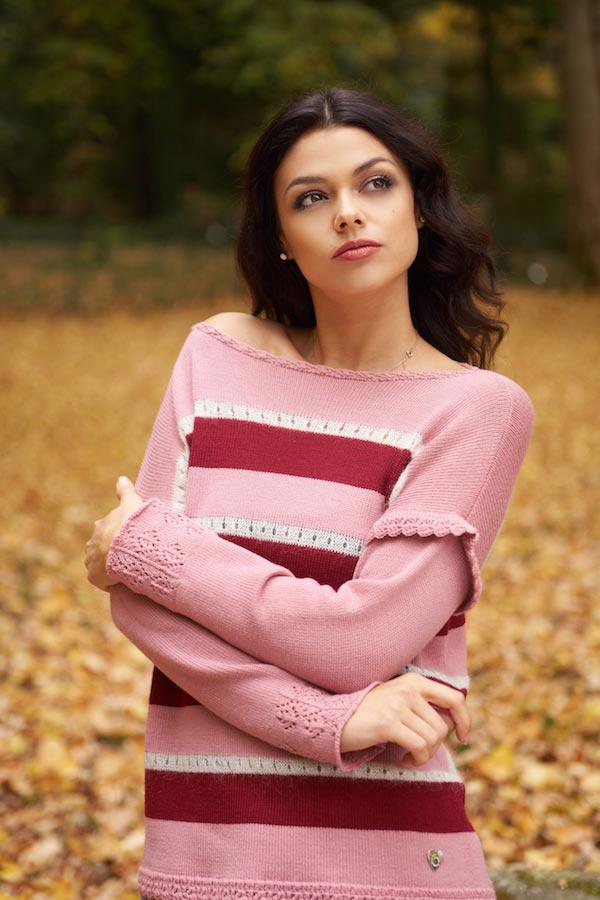 maglia in lana a righe e gonna lunga scozzese pura lana made in italy boho chic