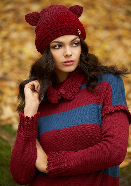abito in lana a righe con volant collo alto apribile made in italy cappello orecchie gatto