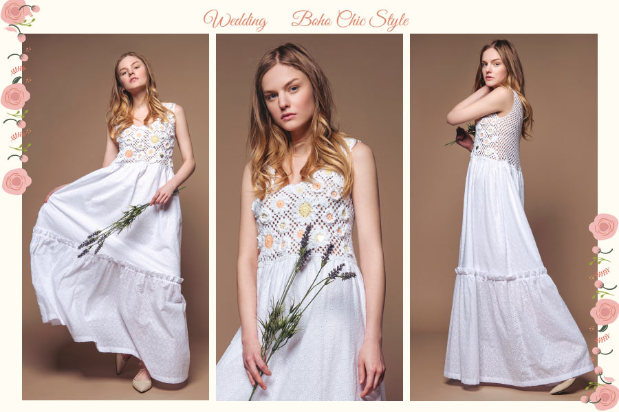 Floral broderie anglaise white maxi dress for a Boho Chic wedding