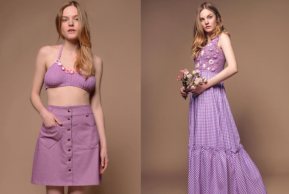 abiti color lilla - bikini cotone - abiti boho cotone